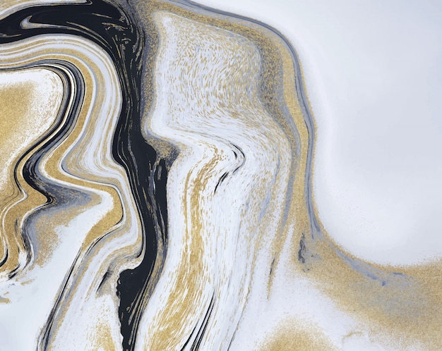 Black, white and golden glitter liquid marble texture. ink painting abstract.