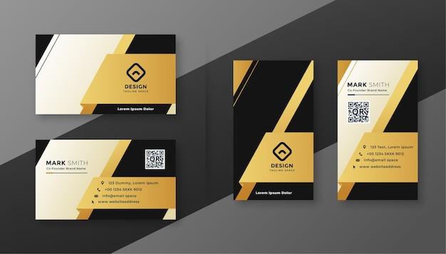 Black white and golden modern business card design
