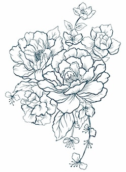 Black and white graphic flowers peonies tattoo