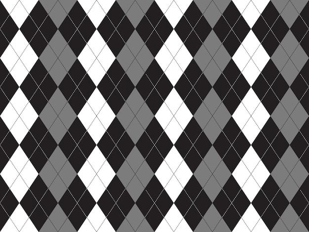 Black white gray argyle textile seamless pattern