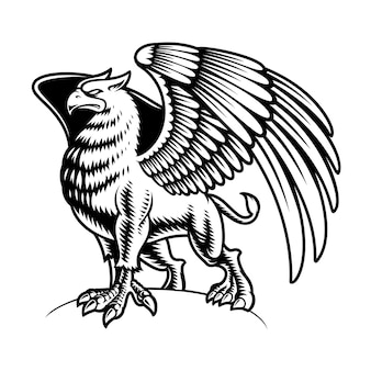 Black and white griffin isolated on white