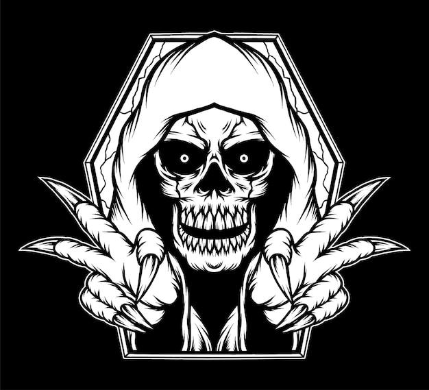 Black white grim reaper skull illustration. premium vector