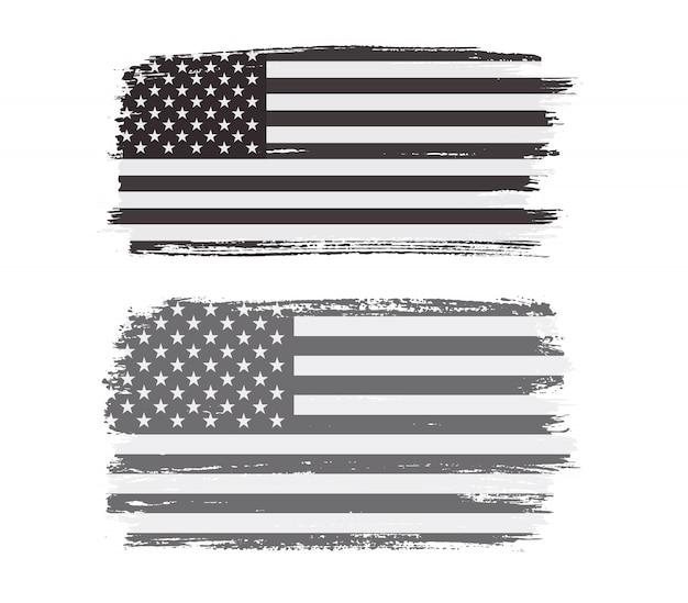 Black and white grunge american flag