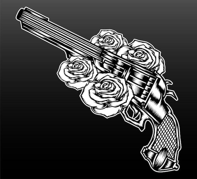 Черный белый пистолет с розой, изолированные на черном