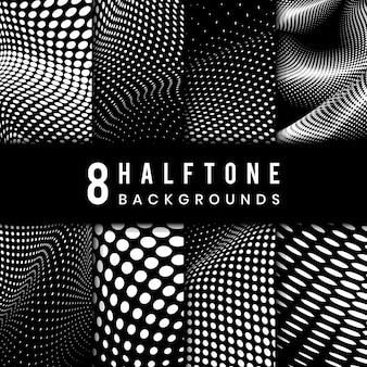 Black and white halftone background vector set