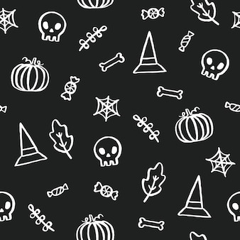 Black and white halloween background. cute cartoon objects. vector hand drawn seamless pattern