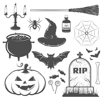 Black and white halloween elements set