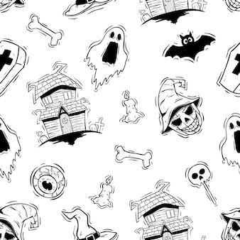 Black and white halloween icons in seamless pattern