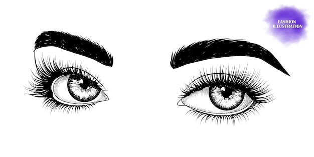 Black and white hand-drawn eyes