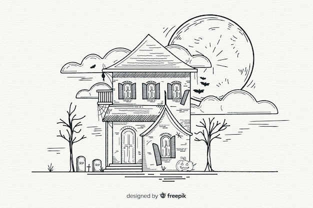 Hand drawn of halloween haunted house background Vector ...