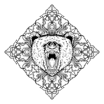 Black and white hand drawn illustration bear head and engraving  ornament premium