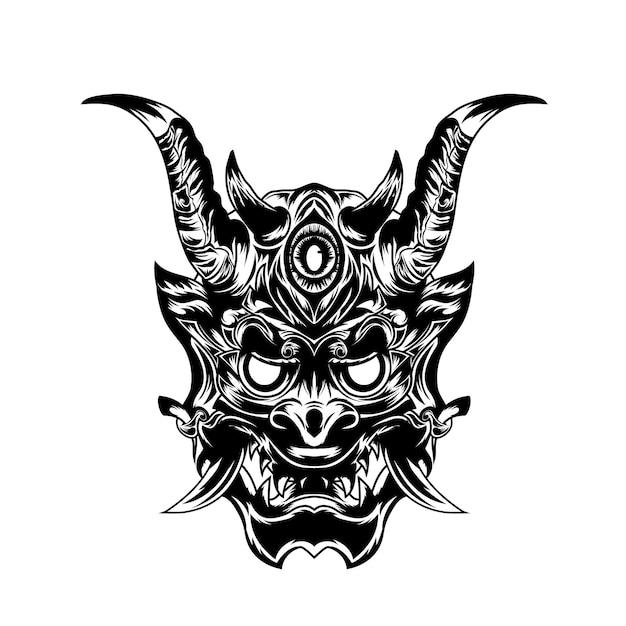 Black and white hand drawn illustration devil satan tattoos
