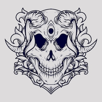Black and white hand drawn illustration devil skull engraving ornament