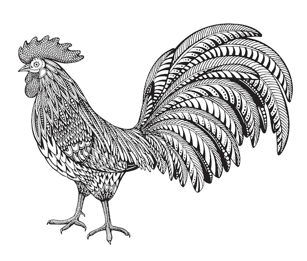 Black and white hand drawn illustration of fiery rooster in doodle ornate style