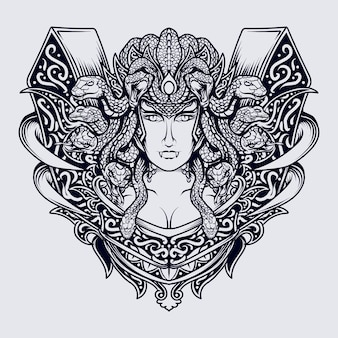 Black and white hand drawn illustration medusa engraving ornament