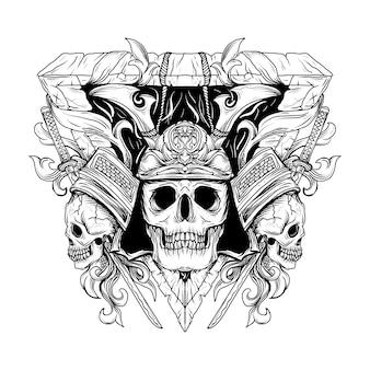 Black and white hand drawn illustration samurai skull engraving ornament