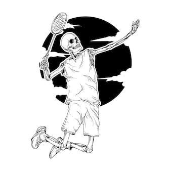 Black and white hand drawn illustration skeleton badminton