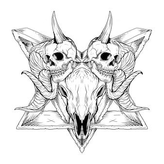 Black and white hand drawn illustration skull baphomet satanism