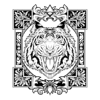Black and white hand drawn illustration tiger head engraving ornament