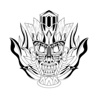 Black and white hand drawn illustration tiki mask tattoos devil indian