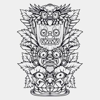 Black and white hand drawn illustration totem