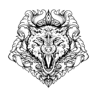 Black and white hand drawn illustration wolf with engraving  ornament premium