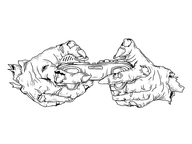 Black and white hand drawn illustration zombie hand with controller game