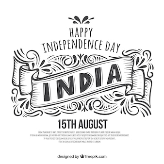 Black and white hand drawn indian independence day background