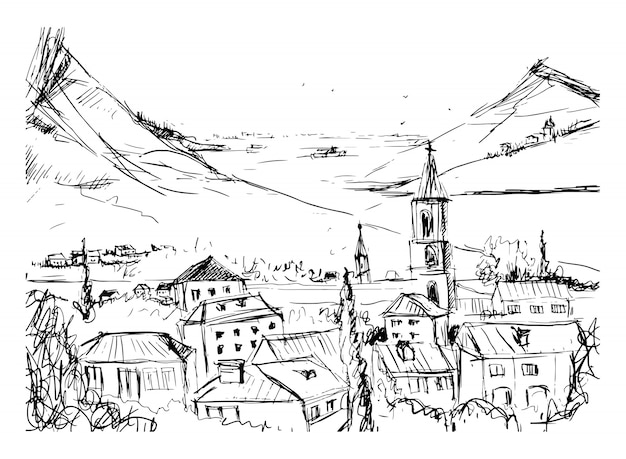 Black and white hand drawn landscape with old georgian town, mountains and harbor. beautiful freehand sketch with buildings and streets of small city located near sea and hills. vector illustration.