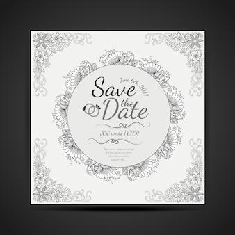 Black and white hand drawn mandala design wedding invitaion card