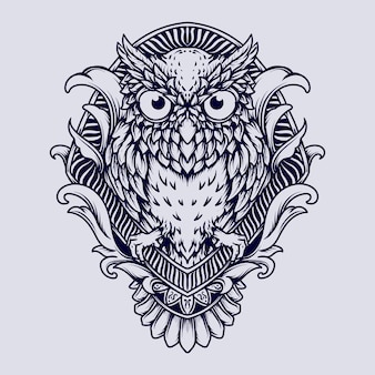 Black and white hand drawn owl engraving