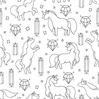Black and white hand drawn seamless pattern with unicorns and gems.
