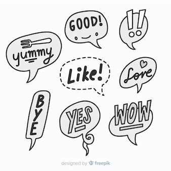 Black and white hand drawn speech bubbles