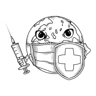 Black and white  handdrawn illustration  earth with masks, injections and shields to fight viruses Premium Vector