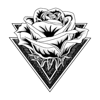 Black and white handdrawn tattoo and tshirt design rose in triangle