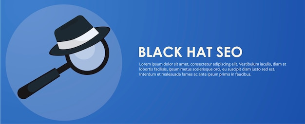 Black and white hat seo banner. magnifier, and other search engine optimization tools