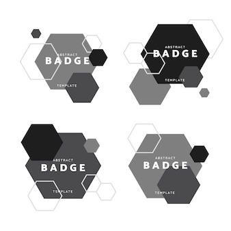 Black and white hexagon geometric pattern badge vectors set