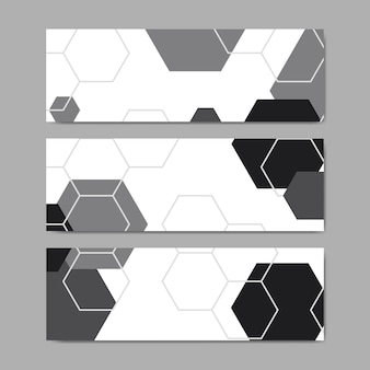Black and white hexagon geometric pattern banner vectors set