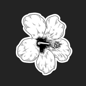 Black and white hibiscus flower sticker with a white border