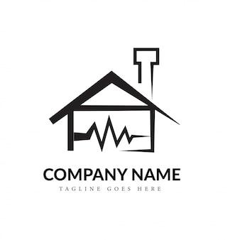 黒と白の家とハートビートラインアートのロゴのコンセプト