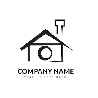 Black & white home photography line art logo concept