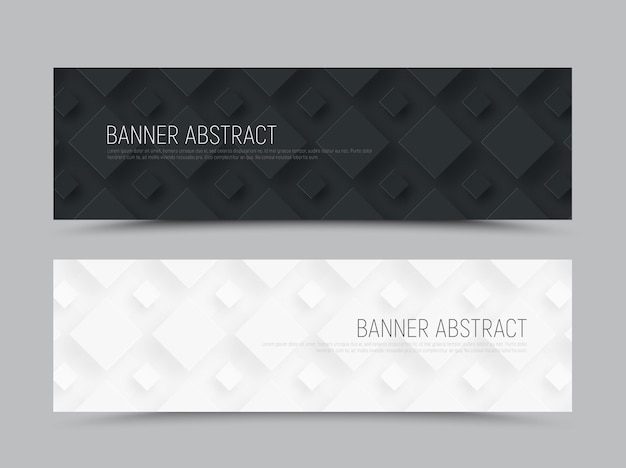 Black and white horizontal web banner in a minimalist style with a rhombus of different sizes on the background.
