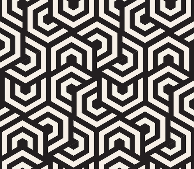 Black and white hypnotic background. abstract seamless pattern.  illustration