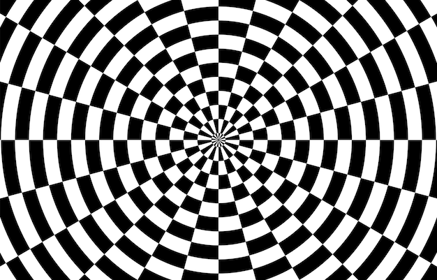Black and white hypnotic optical illusion background. vector illustration.