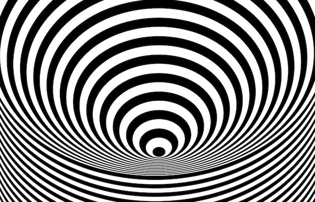 Black and white hypnotic optical illusion background.