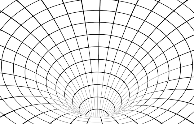 Black and white hypnotic wormhole tunnel optical illusion background.