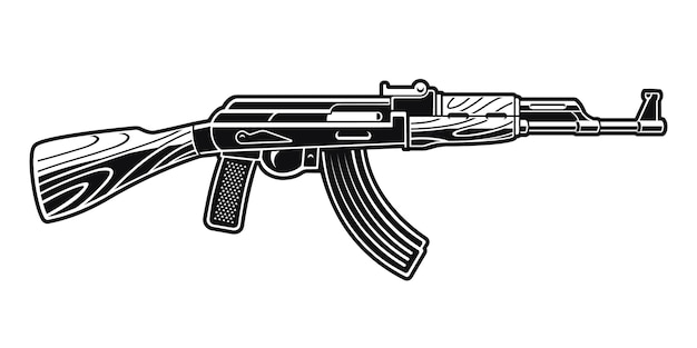 A black and white illustration of an ak 47 rifle.