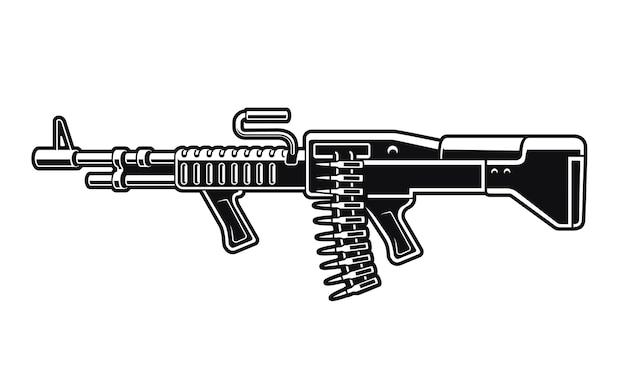 Black and white illustration of an american machine gun isolated on white