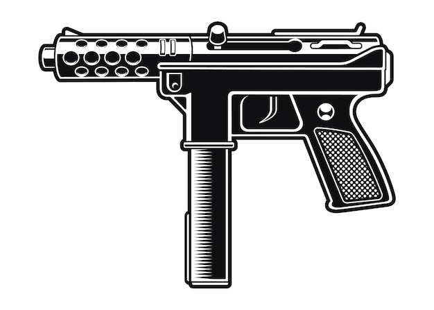 Black and white illustration of an automatic pistol