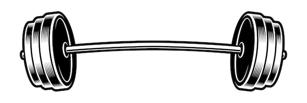 Black and white illustration of a barbell,  on the white background.